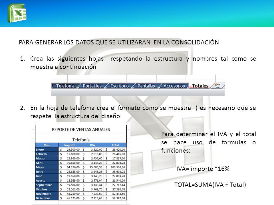 PARA GENERAR LOS DATOS QUE SE UTILIZARAN EN LA CONSOLIDACIÓN
