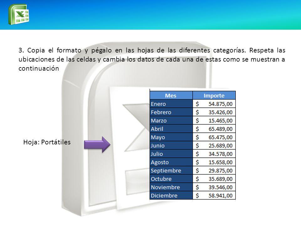 3. Copia el formato y pégalo en las hojas de las diferentes categorías