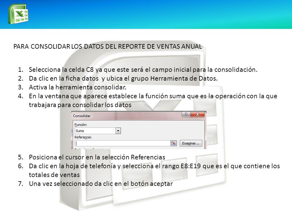 PARA CONSOLIDAR LOS DATOS DEL REPORTE DE VENTAS ANUAL