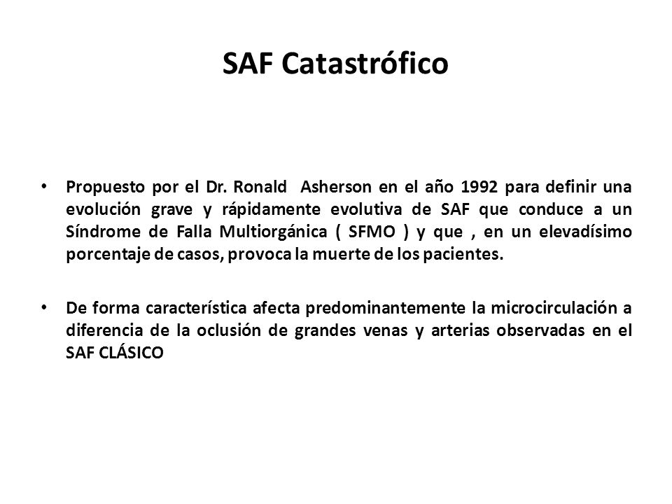 SAF Catastrófico