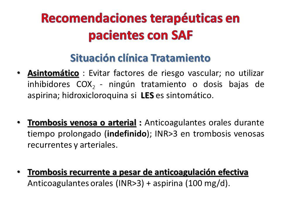 Recomendaciones terapéuticas en pacientes con SAF