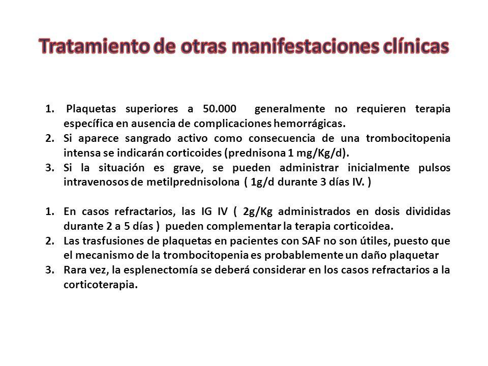 Tratamiento de otras manifestaciones clínicas