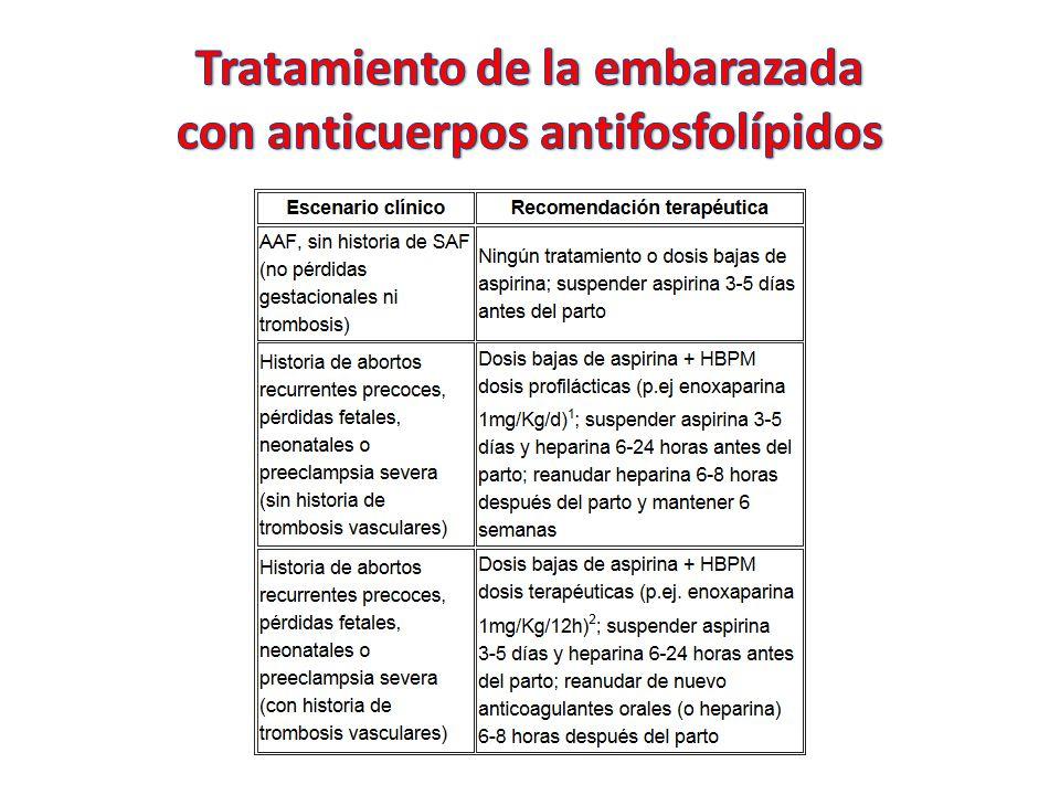 Tratamiento de la embarazada con anticuerpos antifosfolípidos