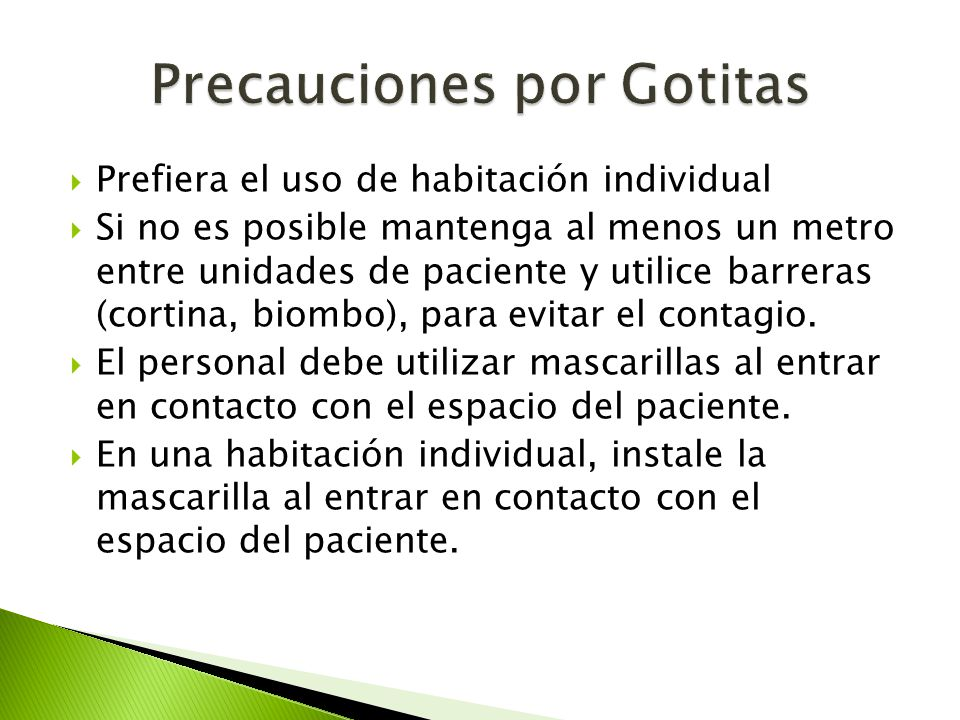 Precauciones por Gotitas