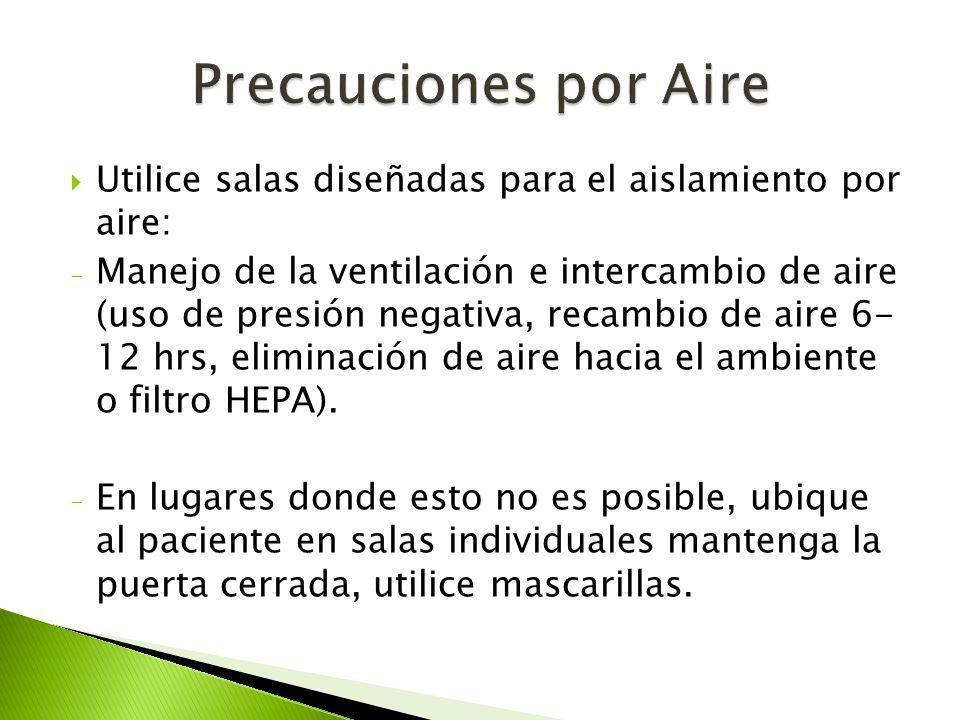Precauciones por Aire Utilice salas diseñadas para el aislamiento por aire: