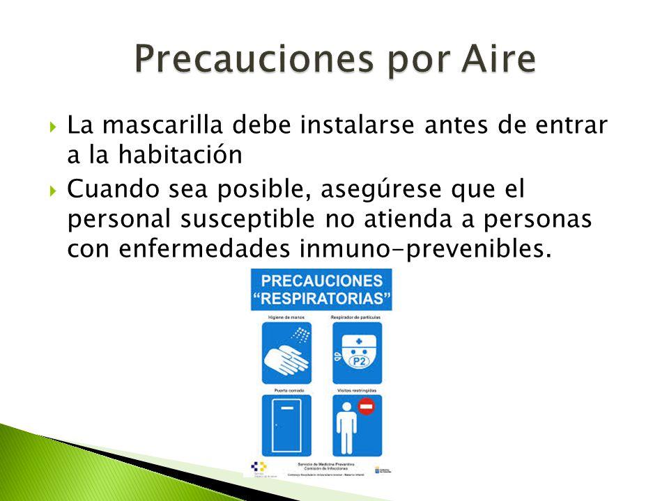 Precauciones por Aire La mascarilla debe instalarse antes de entrar a la habitación.