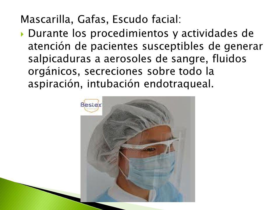 Mascarilla, Gafas, Escudo facial: