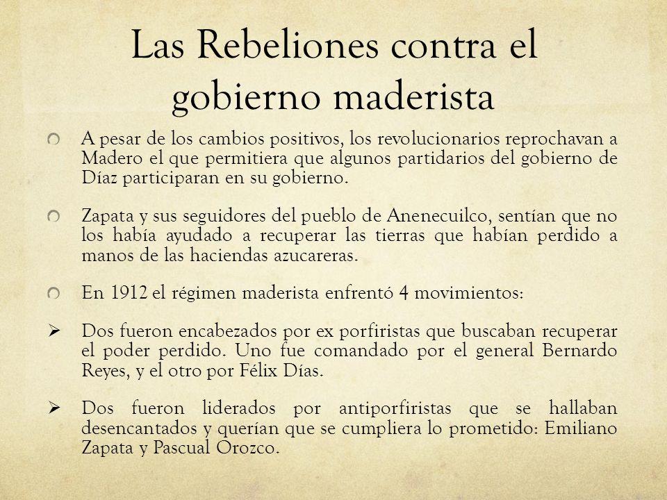 Las Rebeliones contra el gobierno maderista