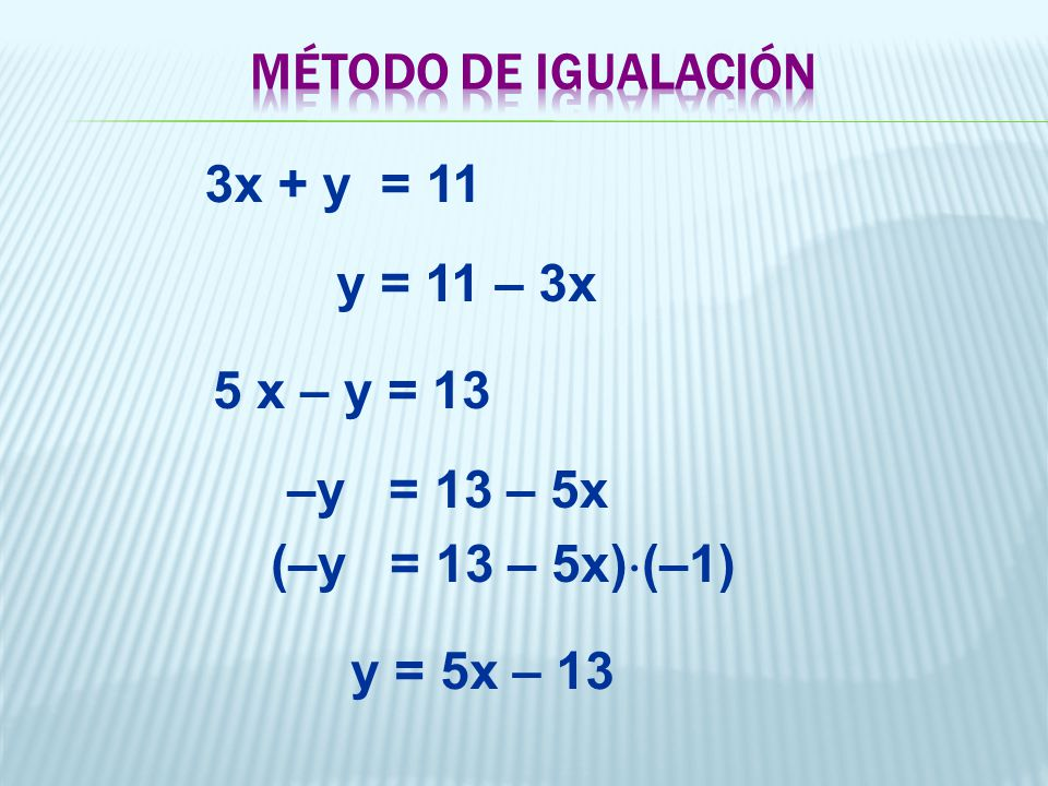 MÉTODO DE IGUALACIÓN 3x + y = 11. y = 11 – 3x. 5 x – y = 13. –y = 13 – 5x. (–y = 13 – 5x)(–1)