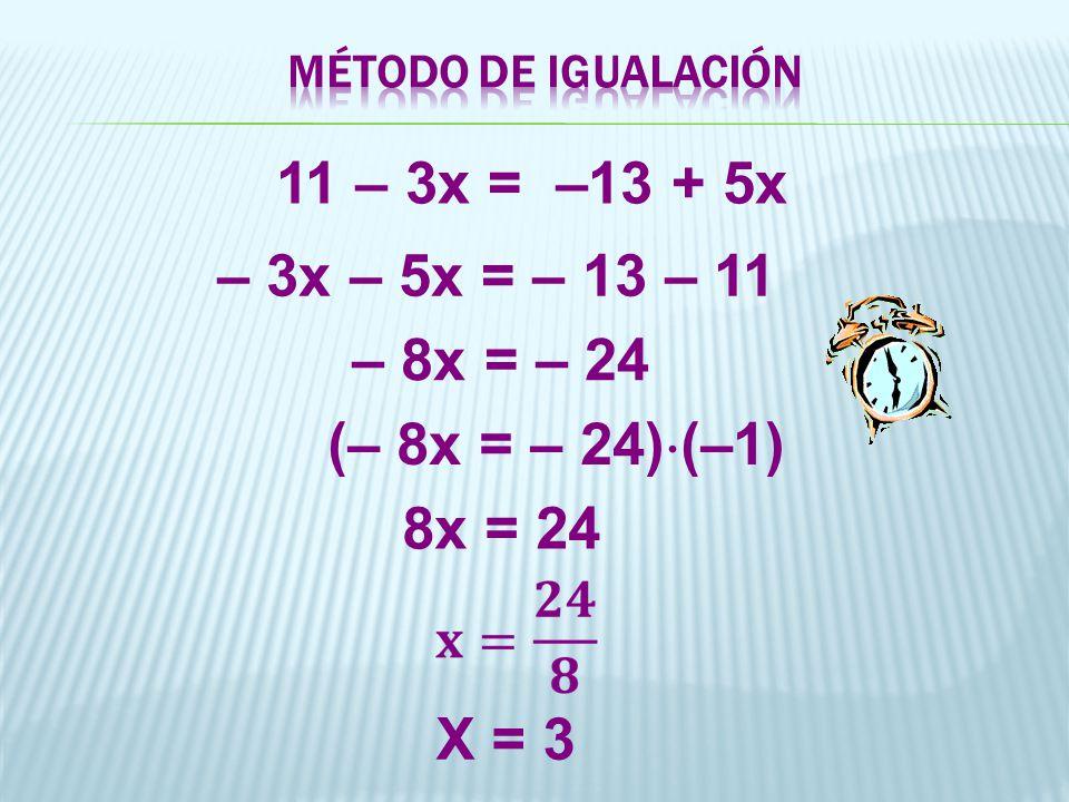 MÉTODO DE IGUALACIÓN 11 – 3x = –13 + 5x. – 3x – 5x = – 13 – 11. – 8x = – 24. (– 8x = – 24)(–1)