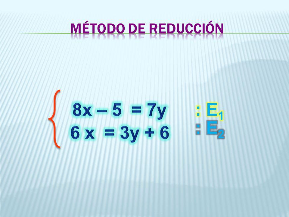 MÉTODO DE REDUCCIÓN 8x – 5 = 7y : E1 : E2 6 x = 3y + 6