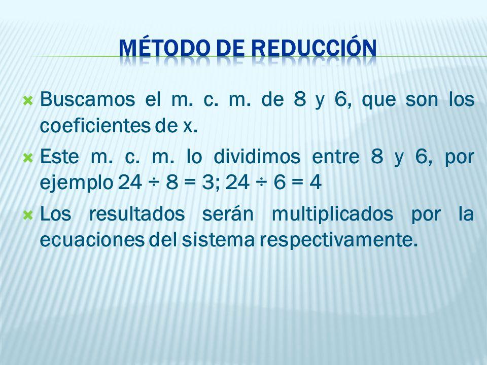 MÉTODO DE REDUCCIÓN Buscamos el m. c. m. de 8 y 6, que son los coeficientes de x.