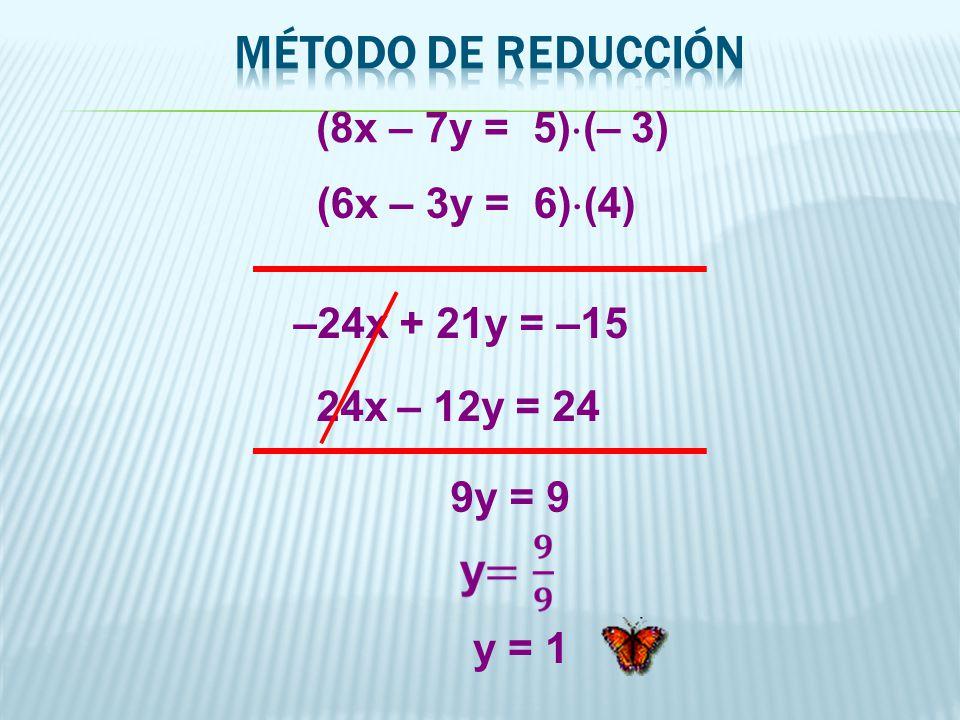 MÉTODO DE REDUCCIÓN (8x – 7y = 5)(– 3) (6x – 3y = 6)(4)