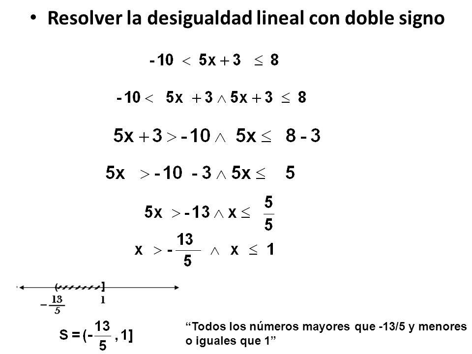 Resolver la desigualdad lineal con doble signo