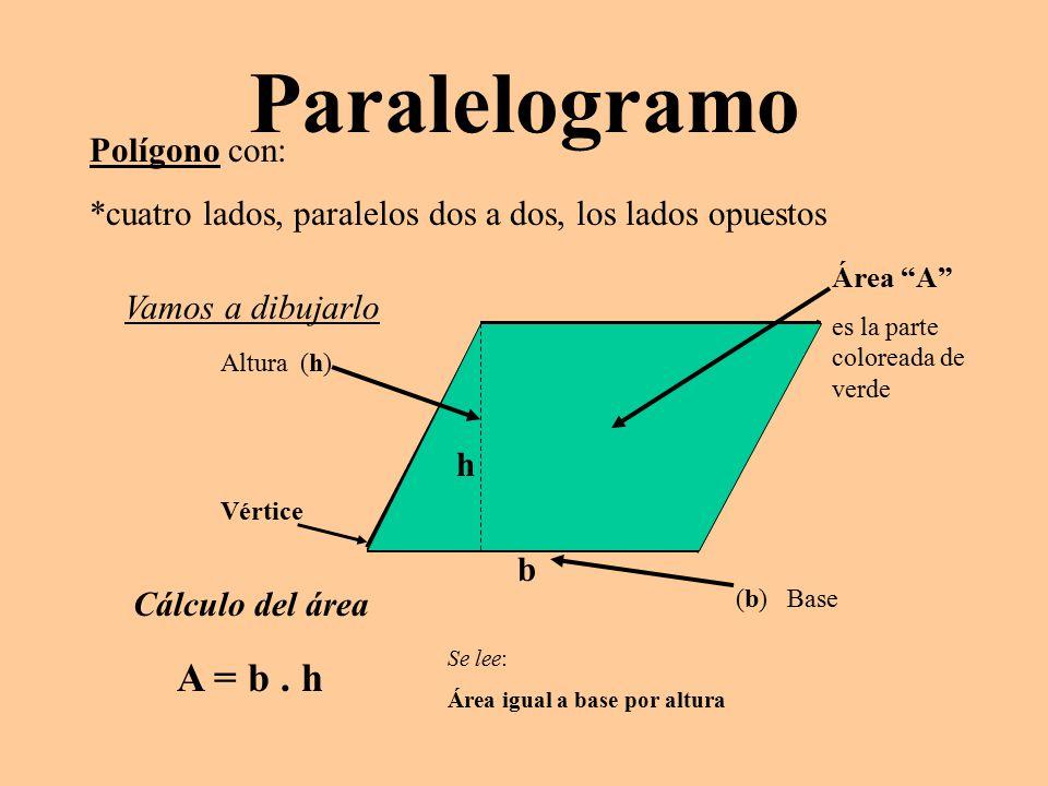 Paralelogramo A = b . h Polígono con: