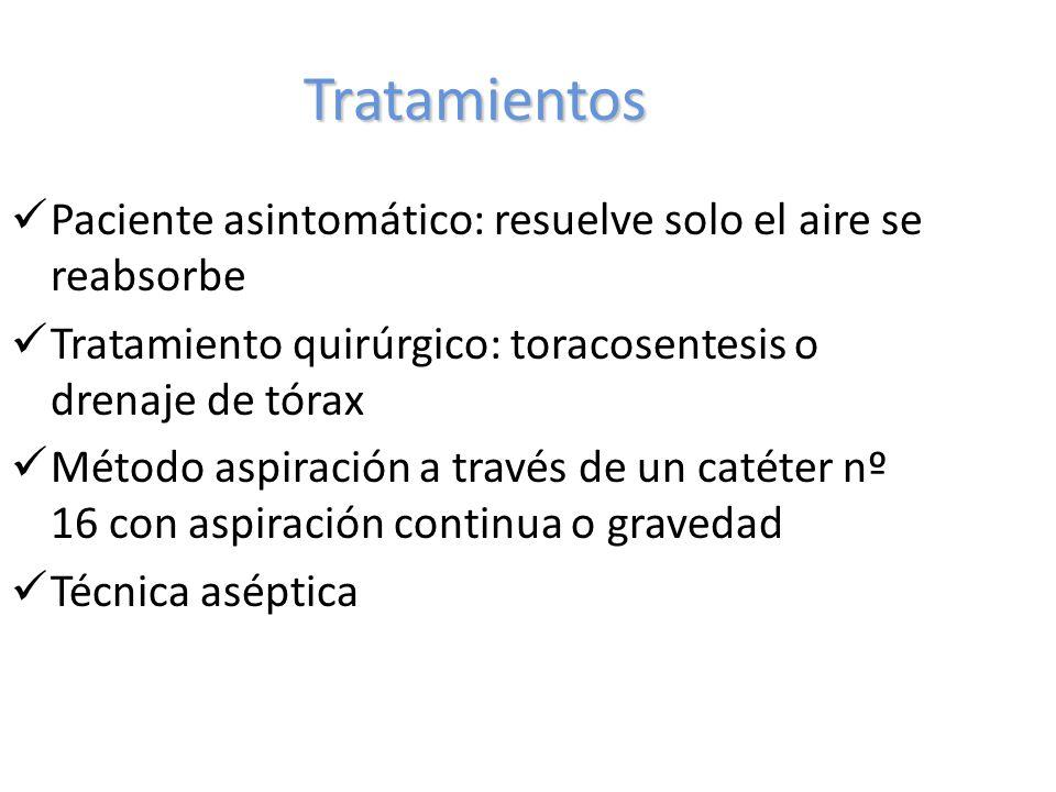Tratamientos Paciente asintomático: resuelve solo el aire se reabsorbe