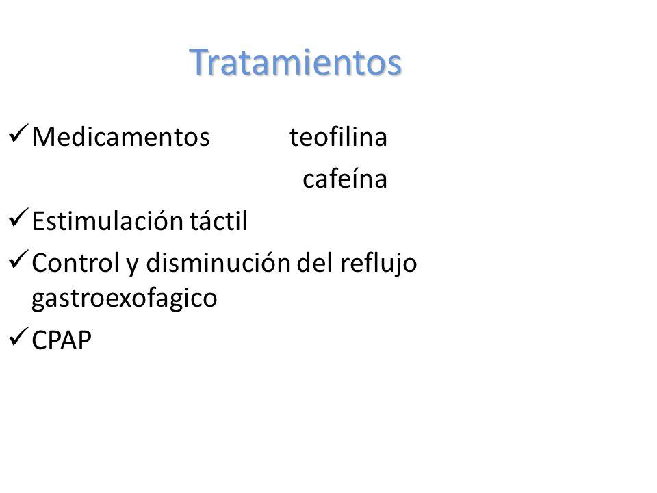 Tratamientos Medicamentos teofilina cafeína Estimulación táctil