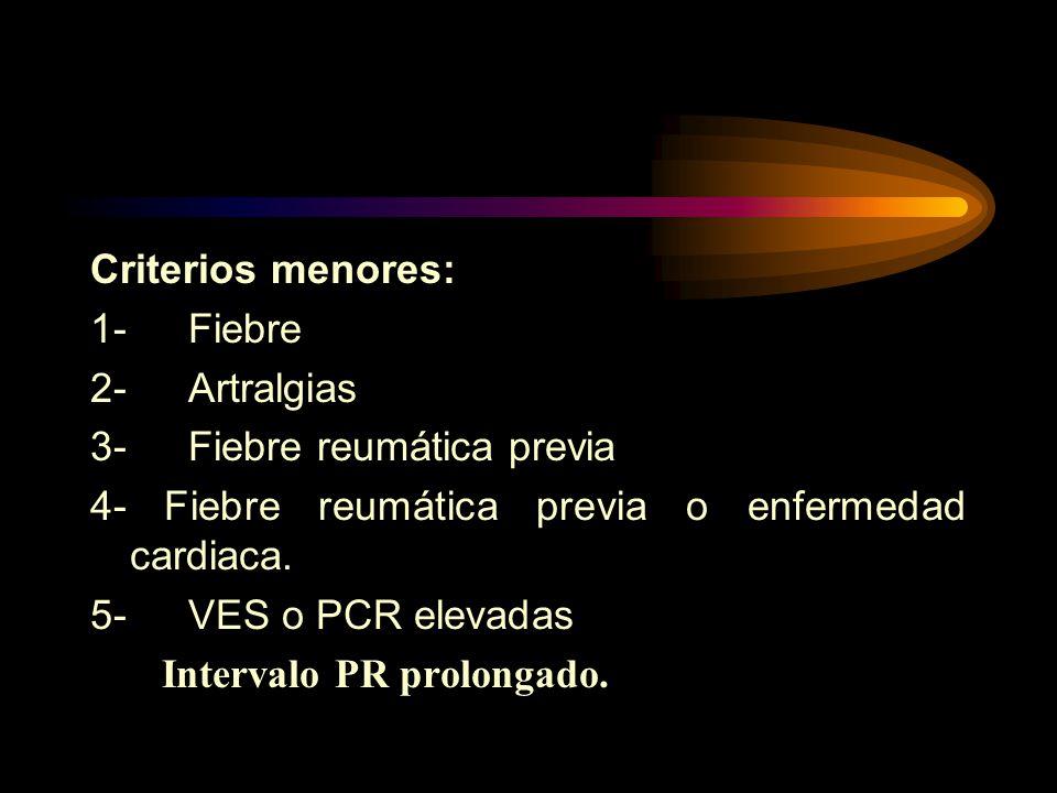 Criterios menores: 1- Fiebre. 2- Artralgias. 3- Fiebre reumática previa. 4- Fiebre reumática previa o enfermedad cardiaca.