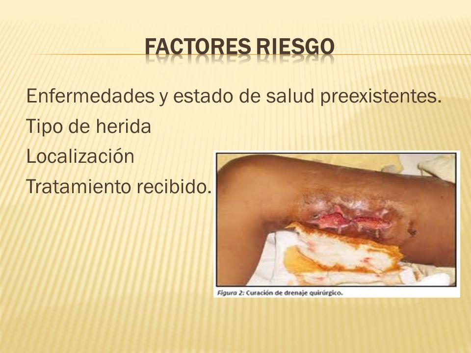 Factores Riesgo Enfermedades y estado de salud preexistentes.