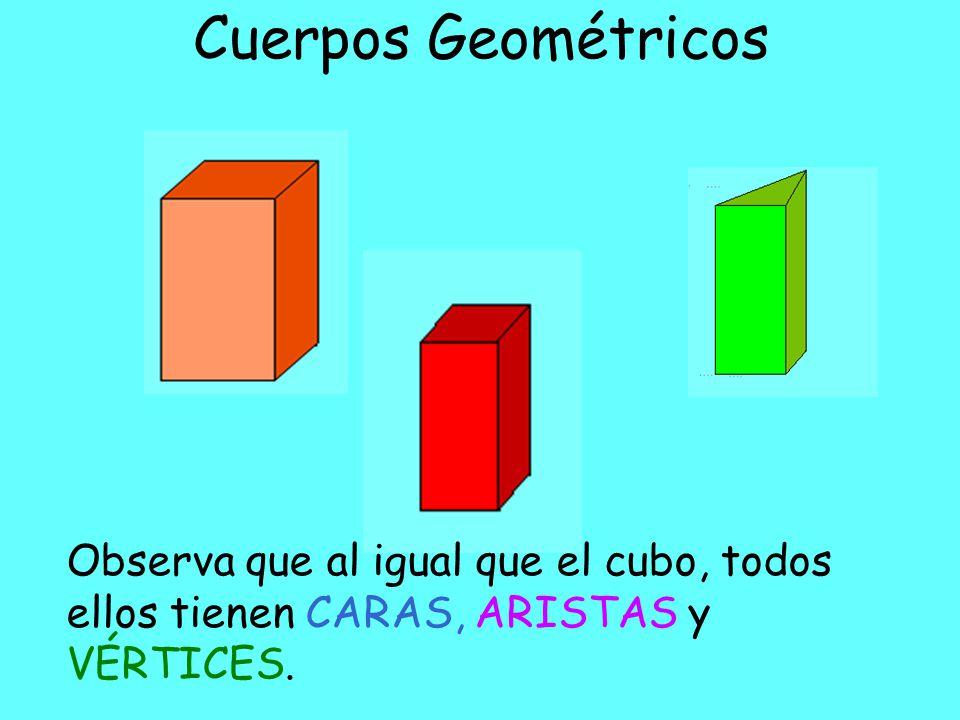 Cuerpos Geométricos Observa que al igual que el cubo, todos ellos tienen CARAS, ARISTAS y VÉRTICES.