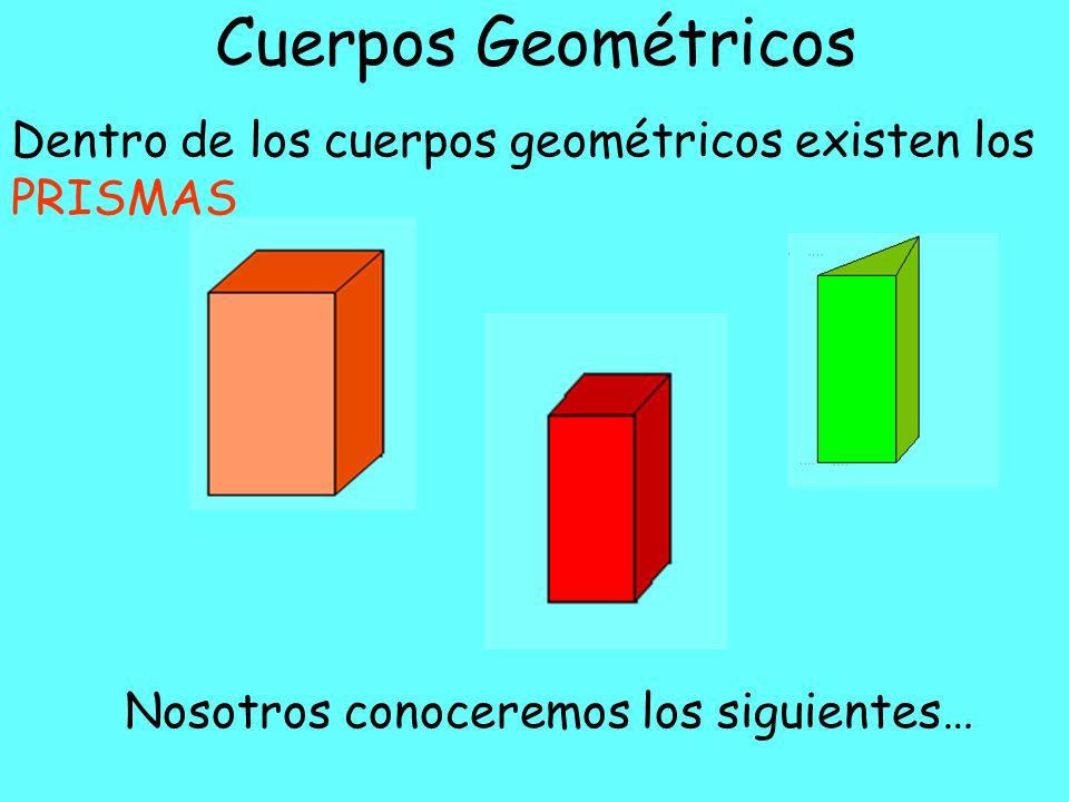 Cuerpos Geométricos Dentro de los cuerpos geométricos existen los PRISMAS.