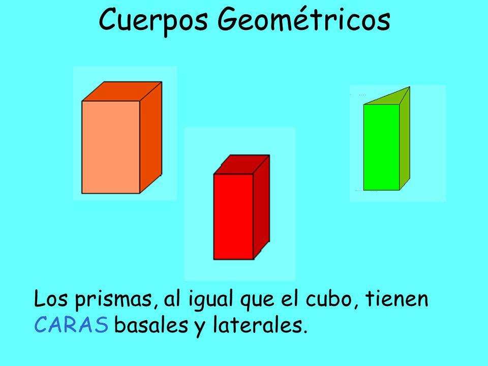 Cuerpos Geométricos Los prismas, al igual que el cubo, tienen CARAS basales y laterales.
