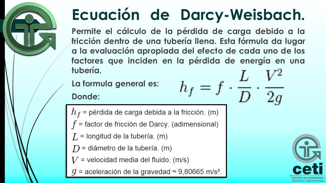 Ecuación de Darcy-Weisbach.