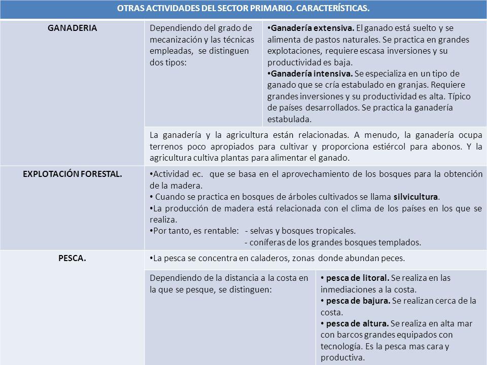 OTRAS ACTIVIDADES DEL SECTOR PRIMARIO. CARACTERÍSTICAS.