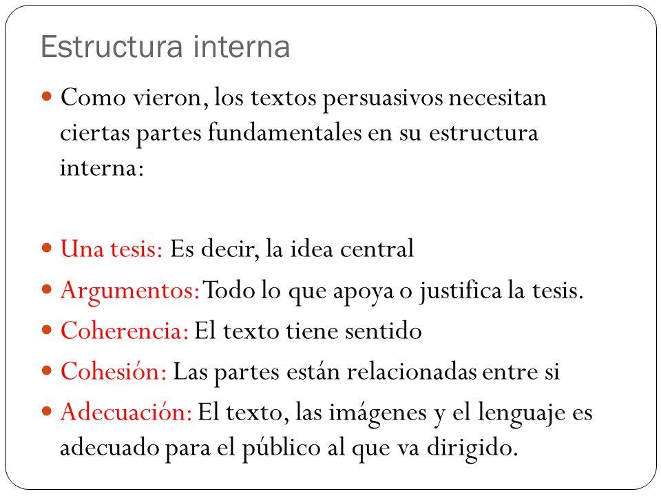 Estructura interna Como vieron, los textos persuasivos necesitan ciertas partes fundamentales en su estructura interna: