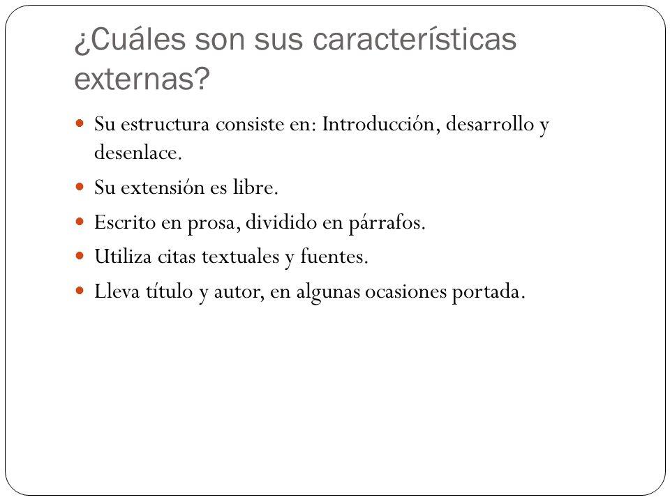 ¿Cuáles son sus características externas