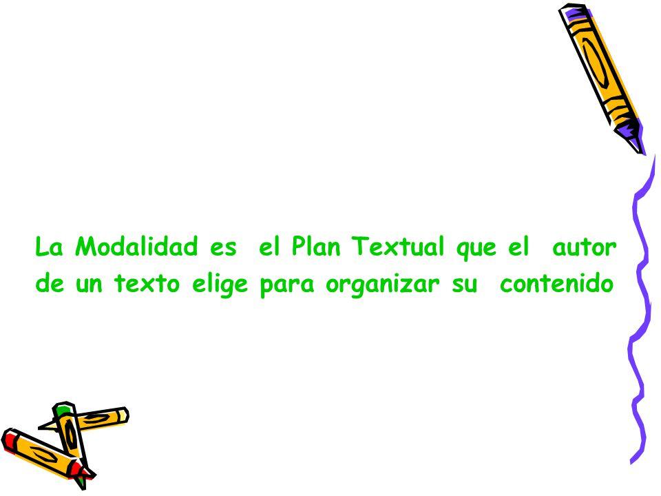 La Modalidad es el Plan Textual que el autor