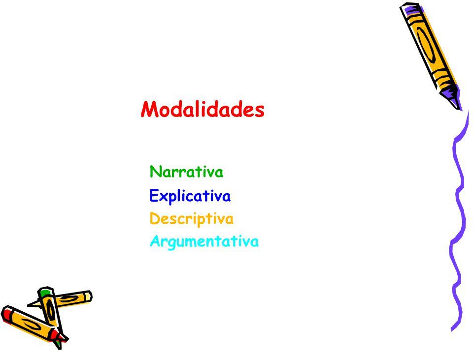 Modalidades Narrativa Explicativa Descriptiva Argumentativa