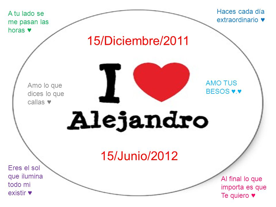 15/Diciembre/2011 15/Junio/2012 Haces cada día extraordinario ♥