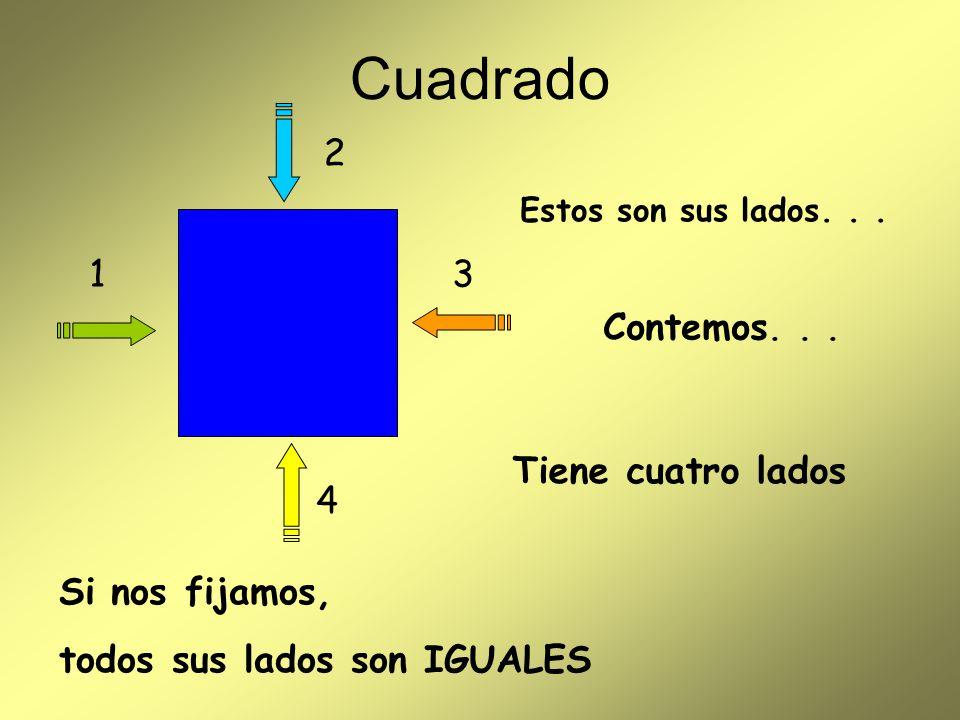 Cuadrado 2 1 3 Contemos. . . Tiene cuatro lados 4 Si nos fijamos,