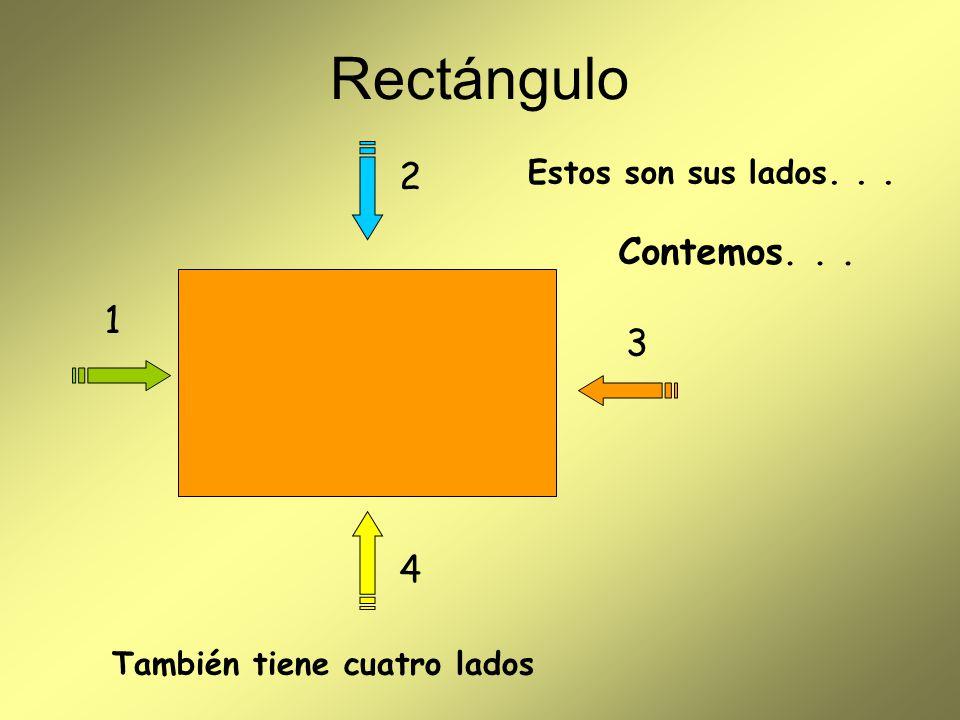 Rectángulo 2 Contemos. . . 1 3 4 Estos son sus lados. . .