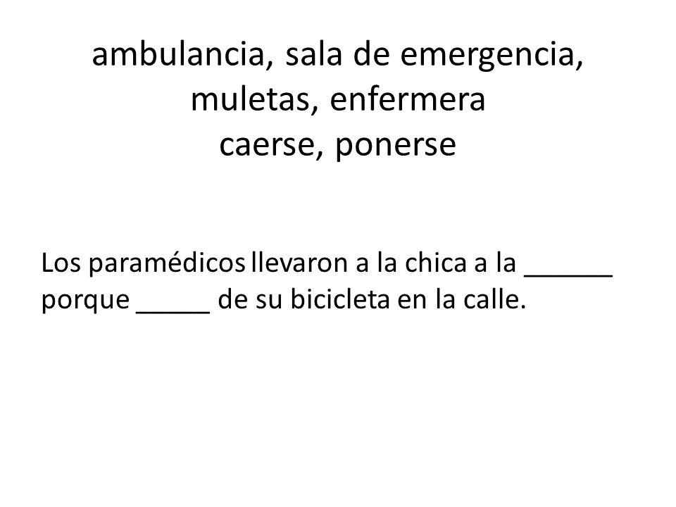 ambulancia, sala de emergencia, muletas, enfermera caerse, ponerse