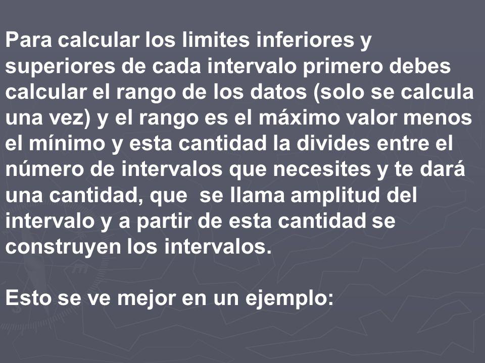 Para calcular los limites inferiores y superiores de cada intervalo primero debes calcular el rango de los datos (solo se calcula una vez) y el rango es el máximo valor menos el mínimo y esta cantidad la divides entre el número de intervalos que necesites y te dará una cantidad, que se llama amplitud del intervalo y a partir de esta cantidad se construyen los intervalos.