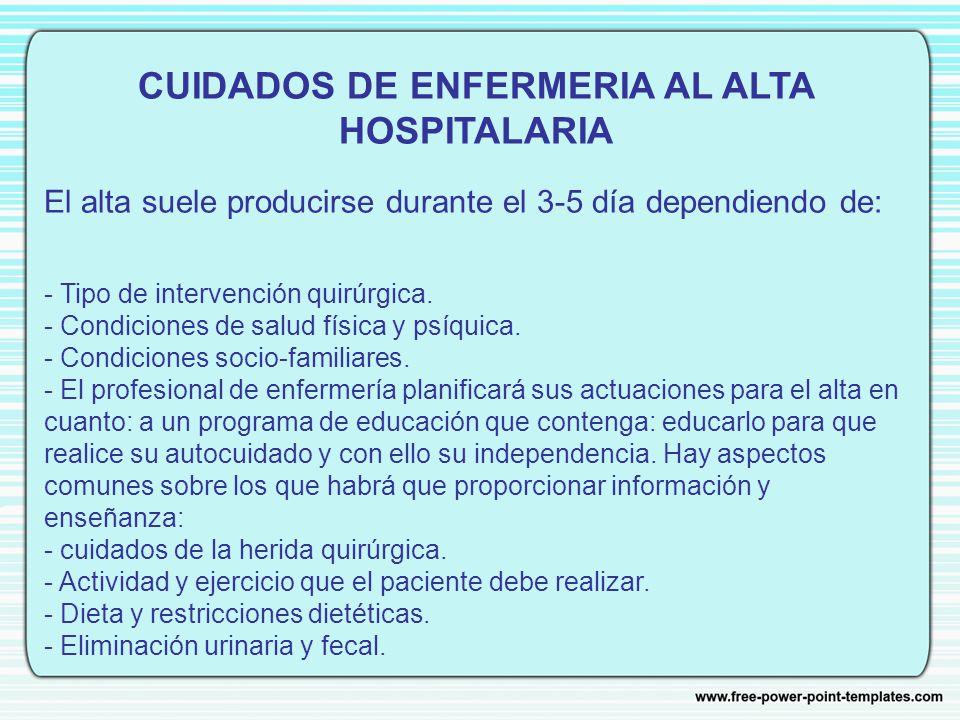 CUIDADOS DE ENFERMERIA AL ALTA HOSPITALARIA