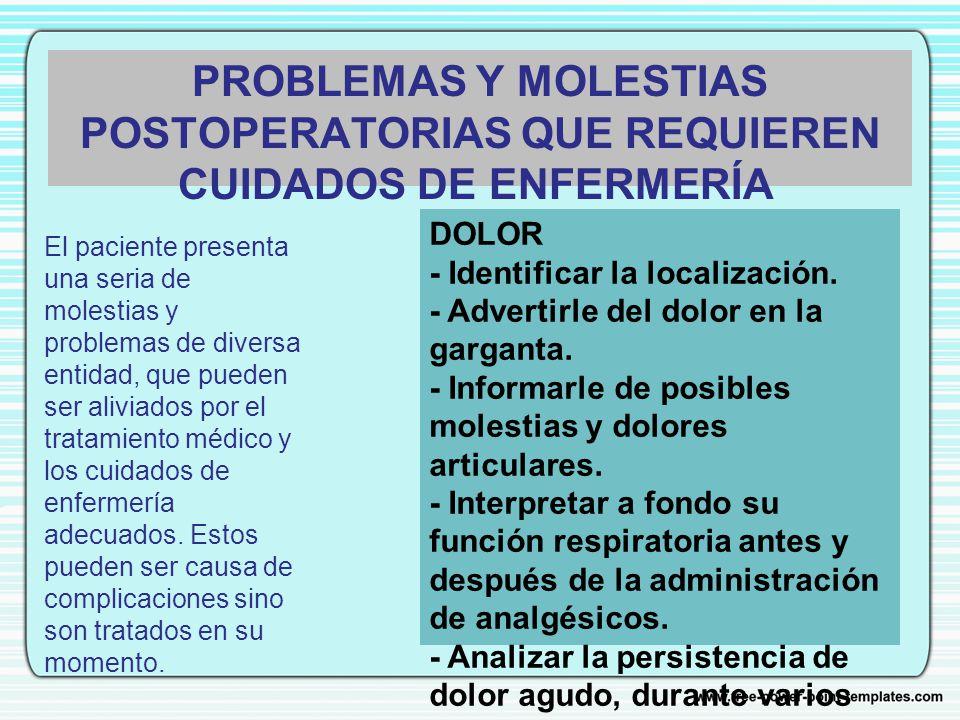 PROBLEMAS Y MOLESTIAS POSTOPERATORIAS QUE REQUIEREN CUIDADOS DE ENFERMERÍA