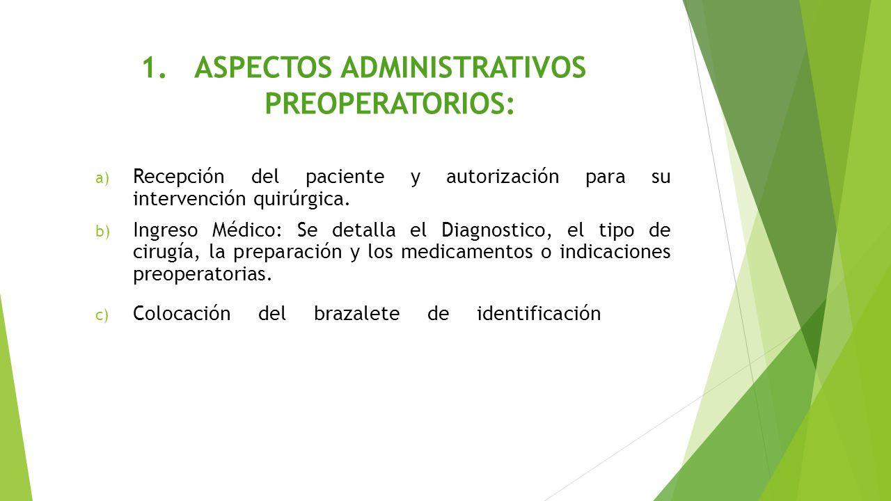 ASPECTOS ADMINISTRATIVOS PREOPERATORIOS: