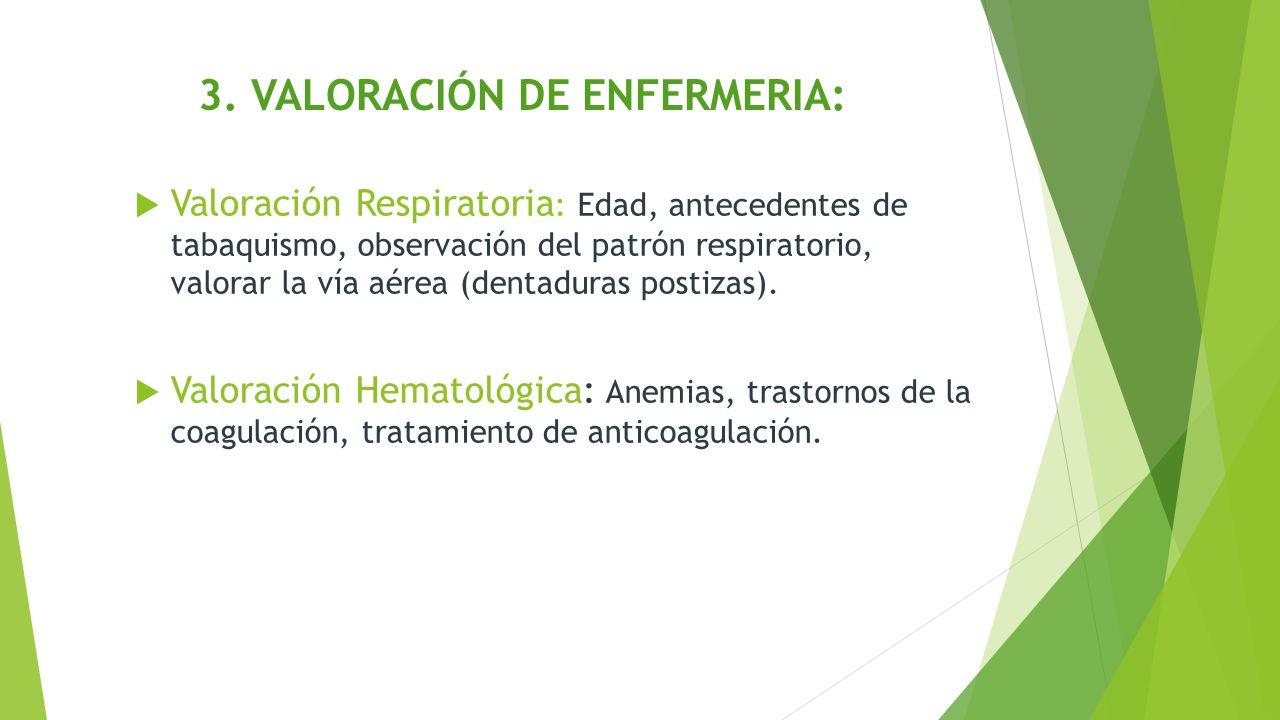 3. VALORACIÓN DE ENFERMERIA: