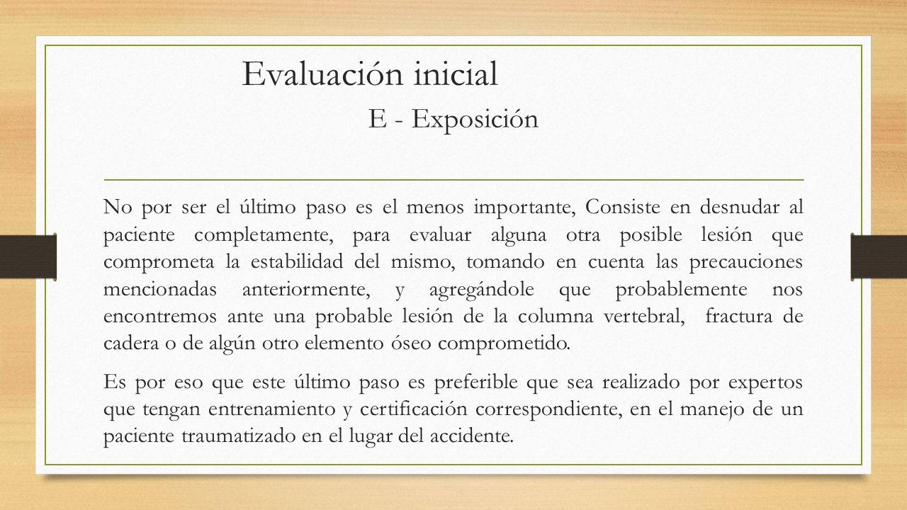 Evaluación inicial E - Exposición