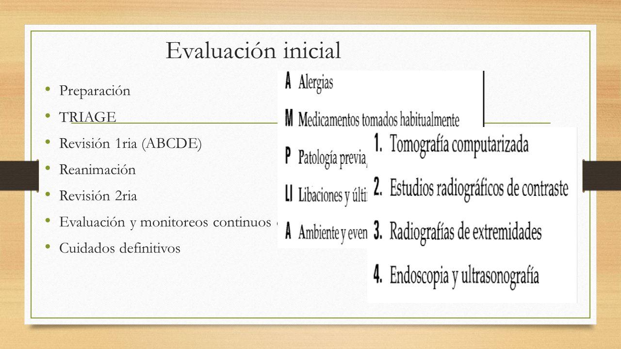 Evaluación inicial Preparación TRIAGE Revisión 1ria (ABCDE)