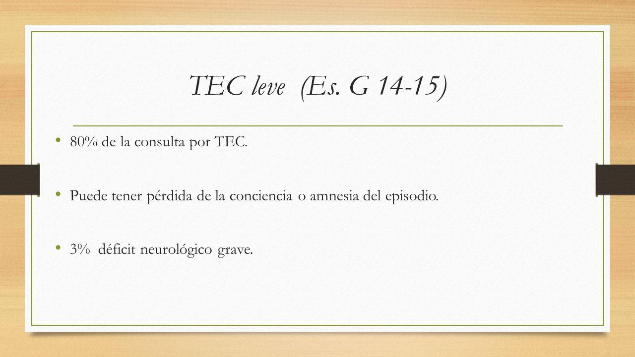 TEC leve (Es. G 14-15) 80% de la consulta por TEC.