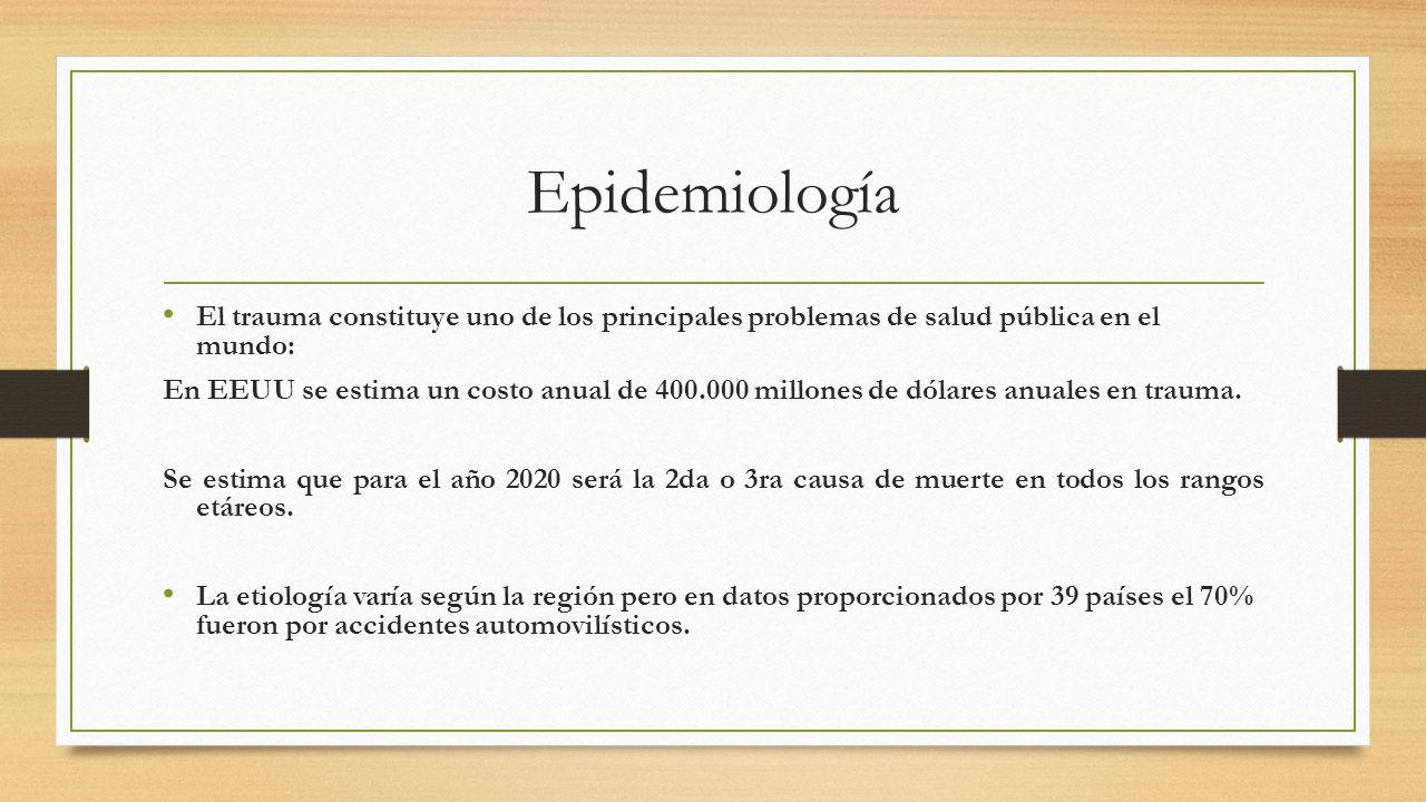 Epidemiología El trauma constituye uno de los principales problemas de salud pública en el mundo: