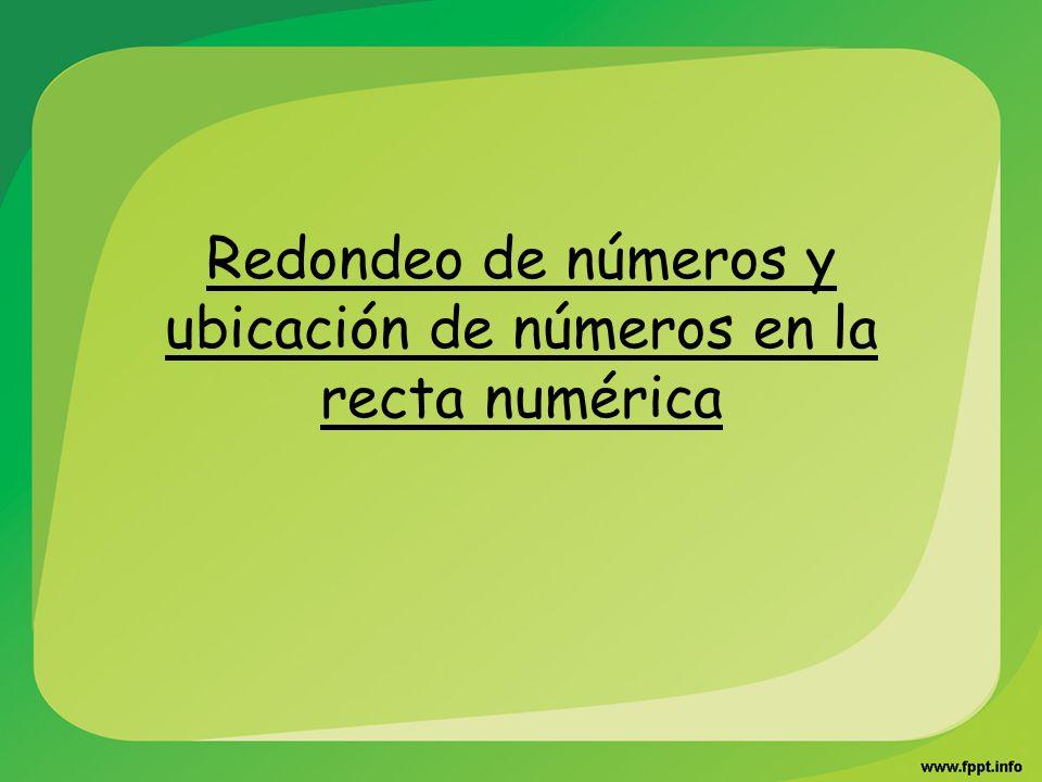 Redondeo de números y ubicación de números en la recta numérica