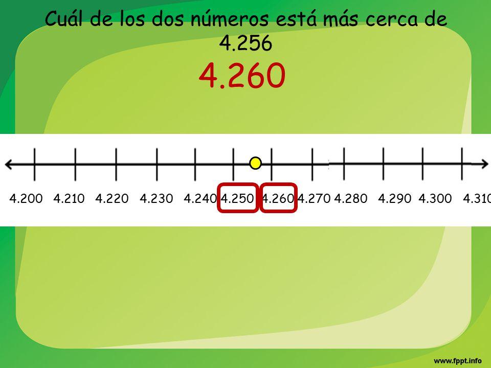 Cuál de los dos números está más cerca de 4.256
