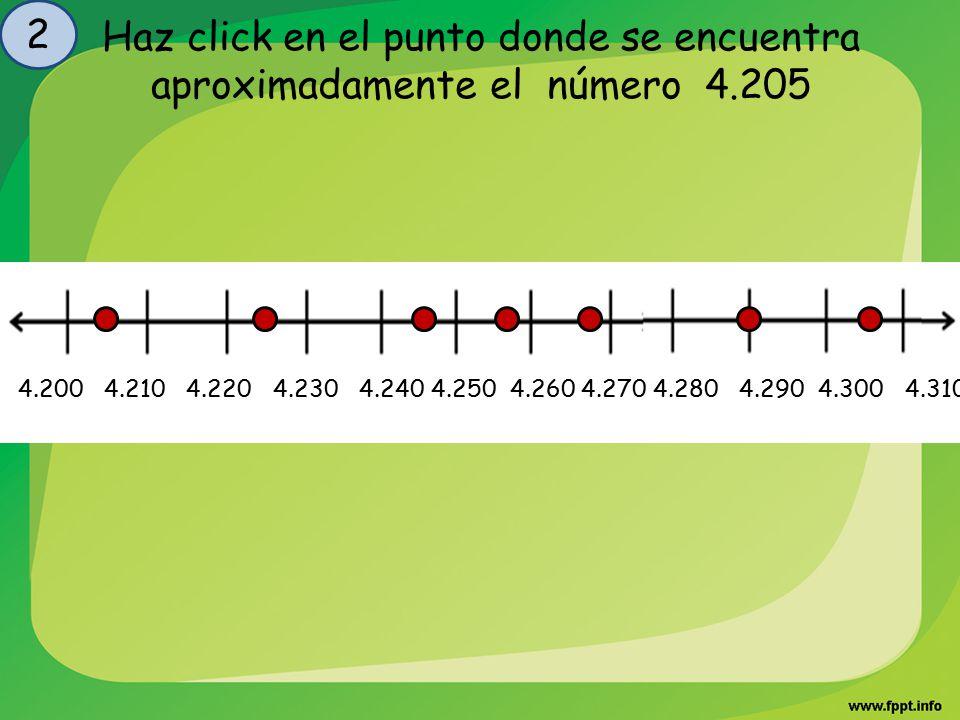 2 Haz click en el punto donde se encuentra aproximadamente el número 4.205.