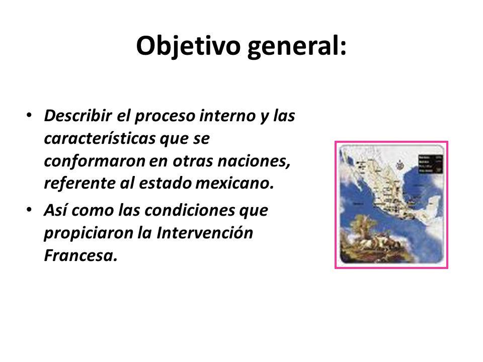 Objetivo general: Describir el proceso interno y las características que se conformaron en otras naciones, referente al estado mexicano.
