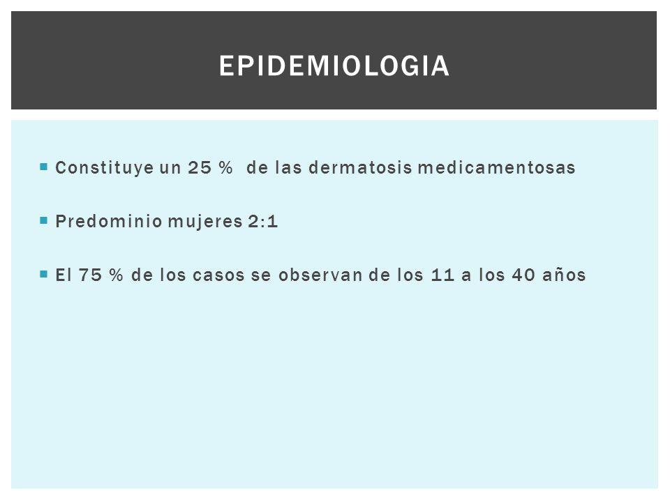 Epidemiologia Constituye un 25 % de las dermatosis medicamentosas